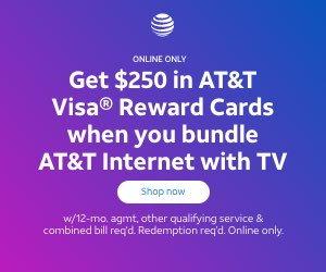 ATT TV Internet 250 Visa gift card